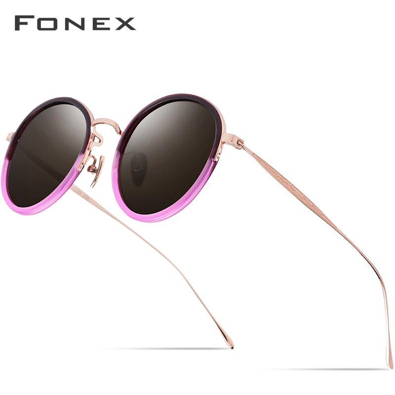 Pure B Titanium Acetate Polarized Sunglasses Women 2019 New Fashion Vintage Round Sunglass Men Retro Mirrored