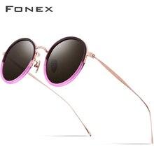 FONEX التيتانيوم خلات الاستقطاب النظارات الشمسية النساء جديد موضة خمر مكبرة مستديرة الرجال الرجعية مرآة نظارات شمسية Oculos 853