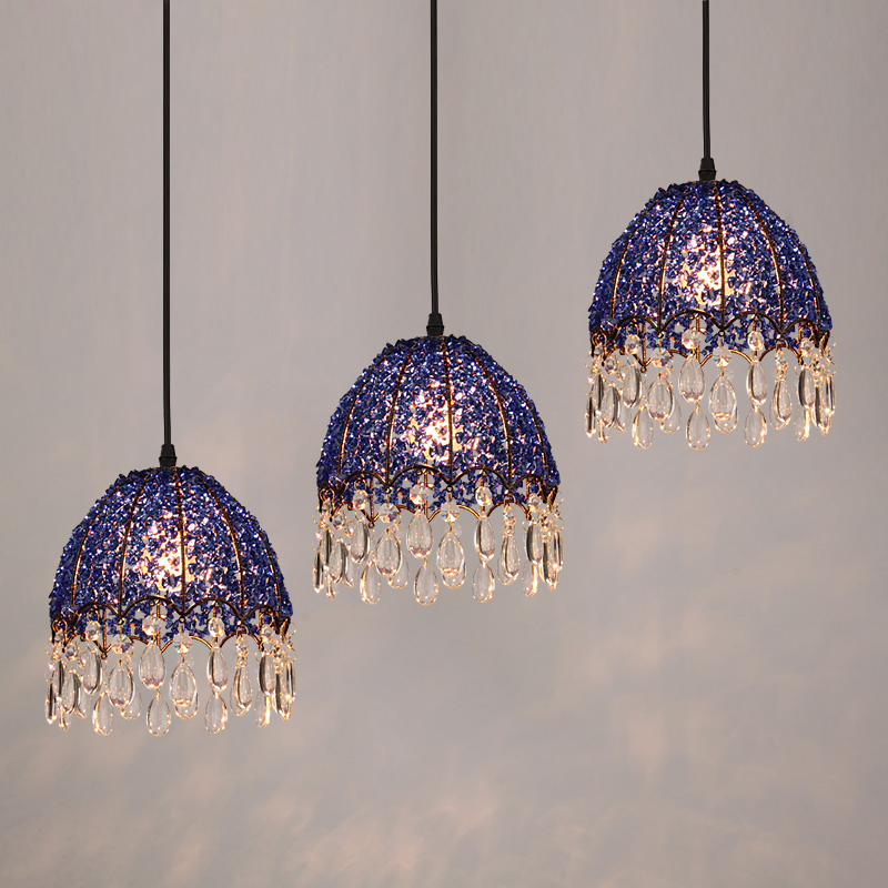 Modern Blue Crystal Pendant Lamps Lighting Fixtures 1/3 Lights Bohemian Style Iron Restaurant Living Room Suspension Light PL656 a1 master bedroom living room lamp crystal pendant lights dining room lamp european style dual use fashion pendant lamps