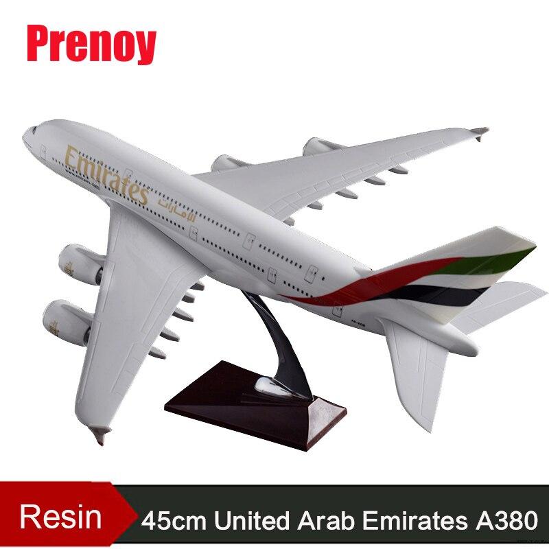 45 cm Résine A380 Emirates Avion Modèle Émirats Arabes Unis Compagnies Aériennes Avions Modèle EAU Émirats A380 Des Voies Aériennes Airbus Modèle Artisanat