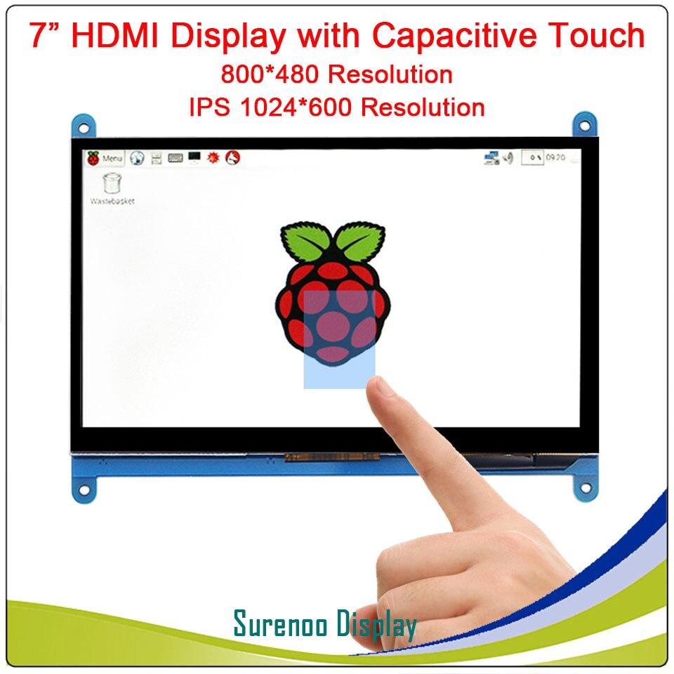 7.0 pouce 800*480 1024*600 IPS Capacitif Tactile Panneau TFT LCD D'affichage de L'écran du Module pour Raspberry Pi 3 B +