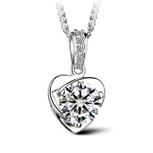 Carat Real Silver-Color Engagement Copper Heart Pendant necklace White Silver Plated Statement Love Gift(China)