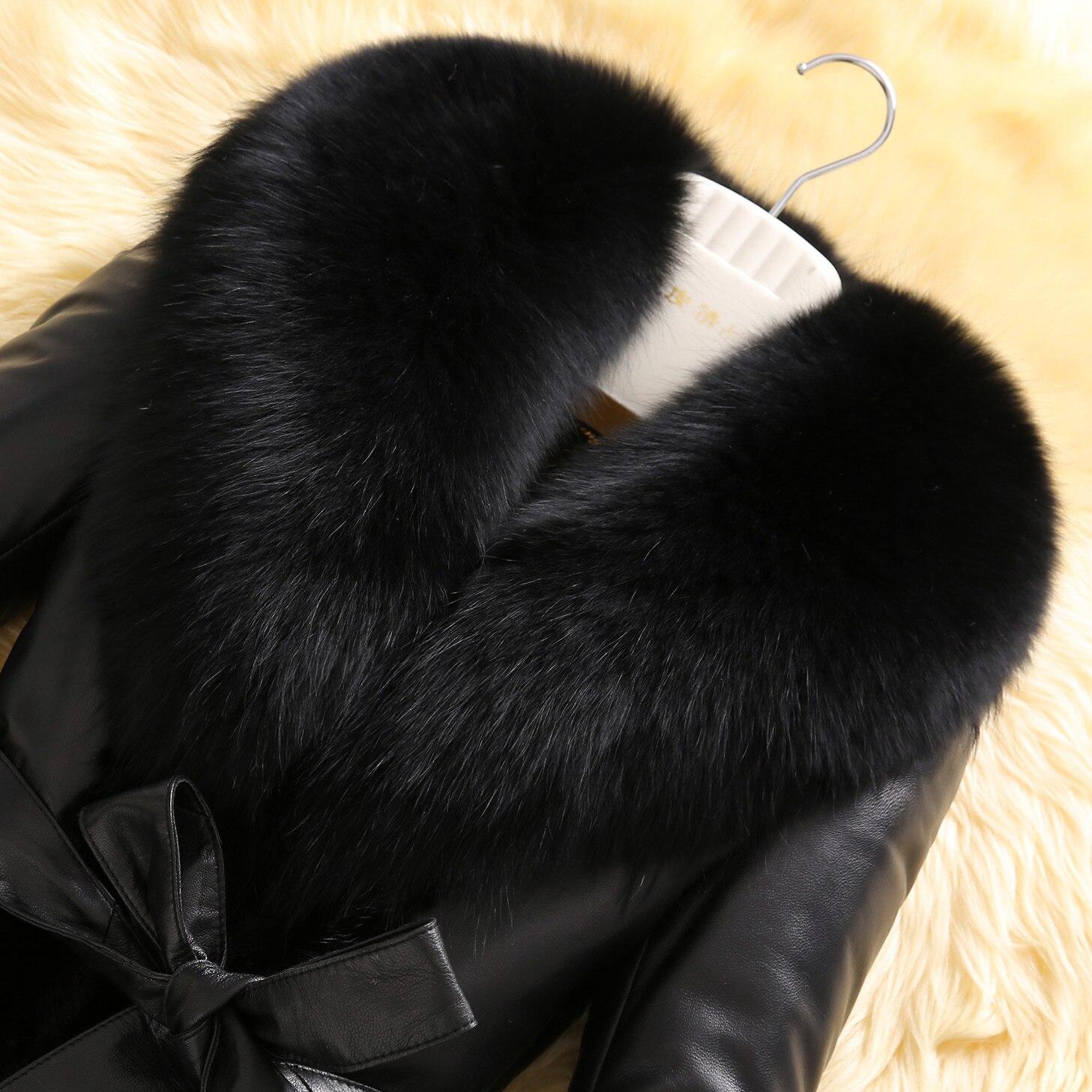 De Mouton Peau La Véritable Manteau Col Vison Noir Fourrure Fox En Femmes Veste Plus Manteaux Hiver Haute Taille 6xl Patchwork Z206 Réel Cuir Qualité wY7Yq6xO