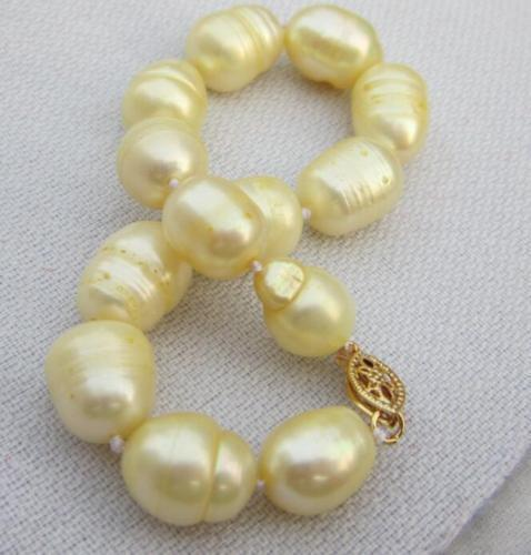 7.5-8 INCH 11-13 MM naturel mer du sud BRACELET de perles dor 14 k/20 or7.5-8 INCH 11-13 MM naturel mer du sud BRACELET de perles dor 14 k/20 or