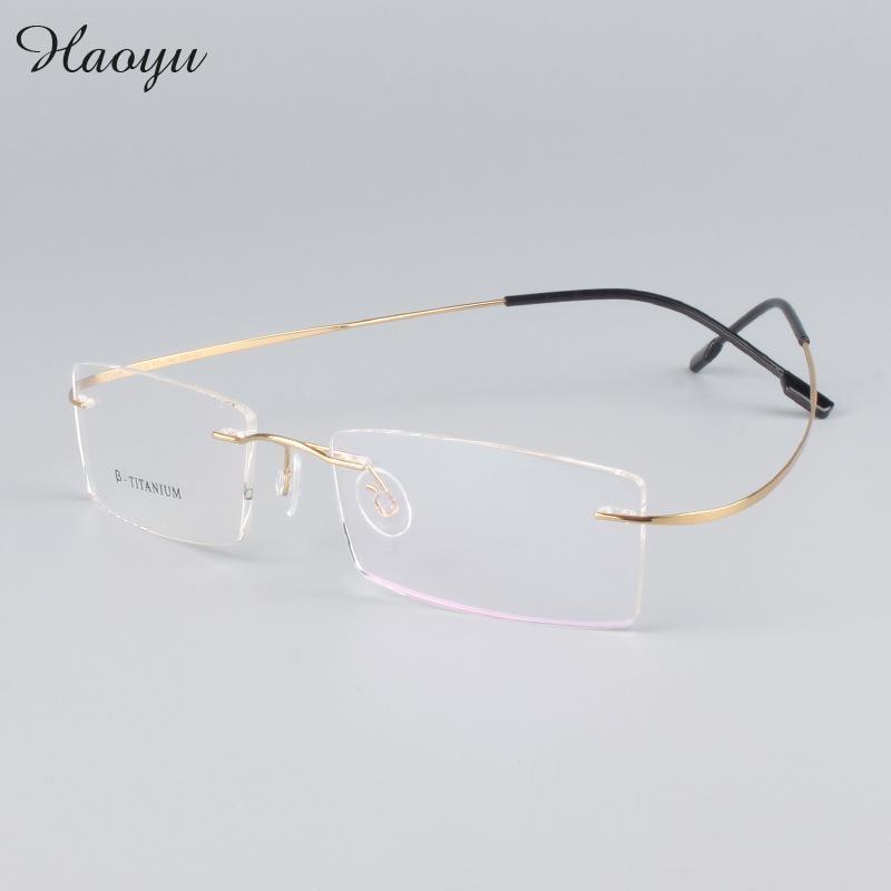 Haoyu moderno óculos de armações sem aro b titanium óculos de armação homens  limpar lens armações de óculos de prescrição b105aa7c40