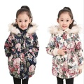 New Children Winter Coats Faux Fur Hood Girls Cotton Floral Coat Long Sleeve Windbreaker Jacket Cotton-padded Coats Kids Parkas