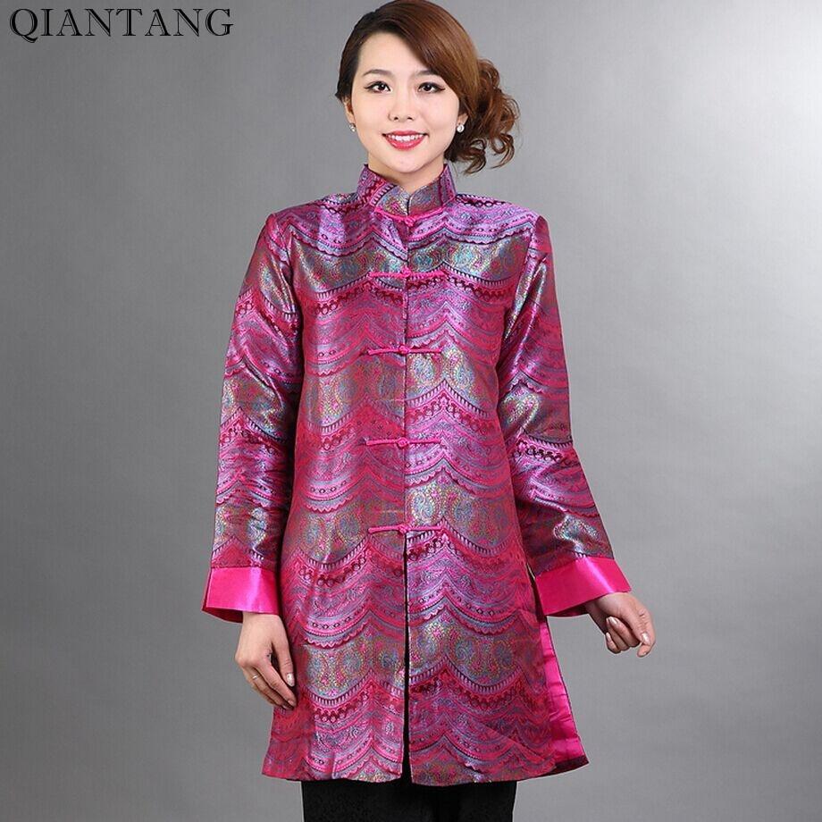 db9725d5254d5 الجدة الساخن الوردي الإناث النساء سترة طويلة الحرير معطف الكلاسيكية الصينية  تانغ الملابس موهير Chaqueta حجم SML XL XXL XXXL Mny005B