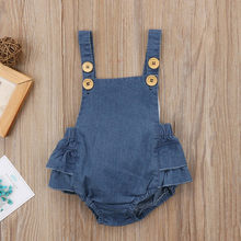 2019 Sleeveless Infant Newborn Baby Girls Denim Romper Jumpsuit New Fashion Summer Bandage Playsuit Clothes Outfits(China)