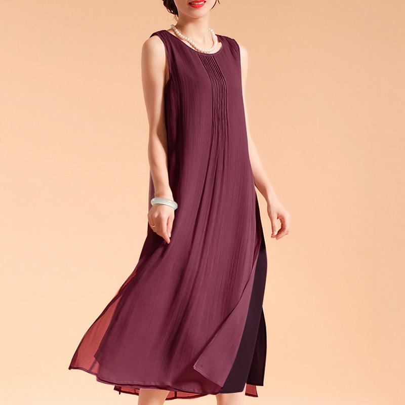 EaseHut Women Sleeveless Summer Dress 2019 Boho Beach Casual Ruched Slit Lined Midi Linen Dress S-5XL Plus Size Dresses elbise 1