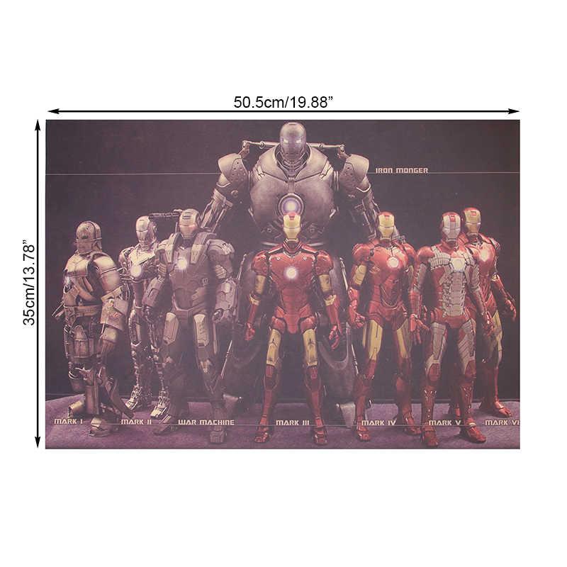 Фильм Marvel Hero Железный человек коллекция в Стиле Винтаж Плакат на крафт-бумаге домашний декор наклейка на стену 51x36 см декоративные картины