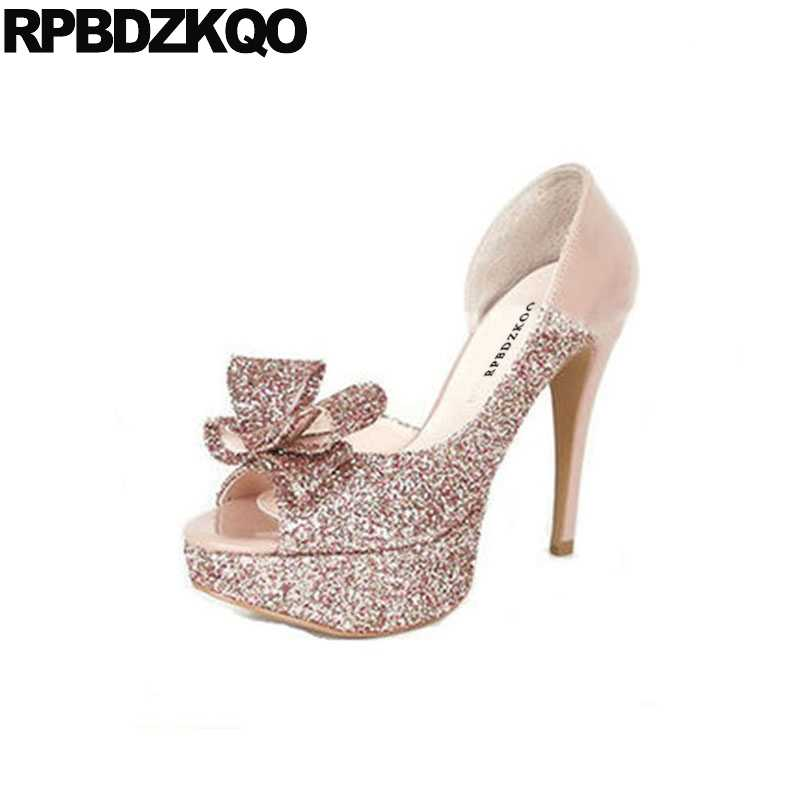 stiletto super peep toe extreme ladies rose gold ultra glitter high heels  shoes exotic dancer evening 49a702214003
