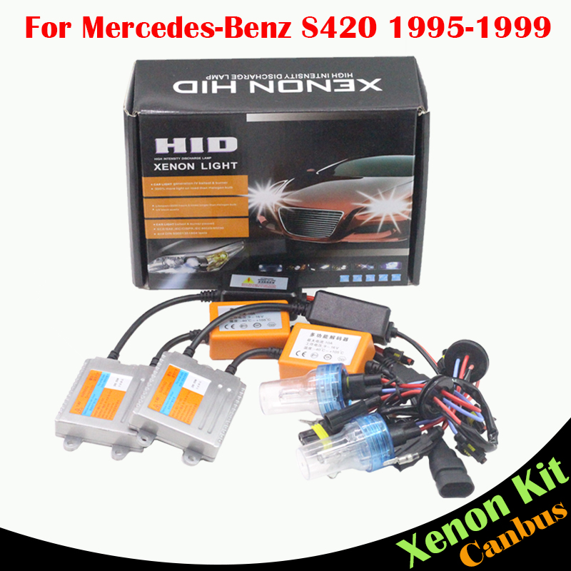 ФОТО Cawanerl 55W Auto Light HID Xenon Kit For Mercedes Benz W140 S420 1995-1999 Car Canbus Ballast Bulb AC Headlight Low Beam