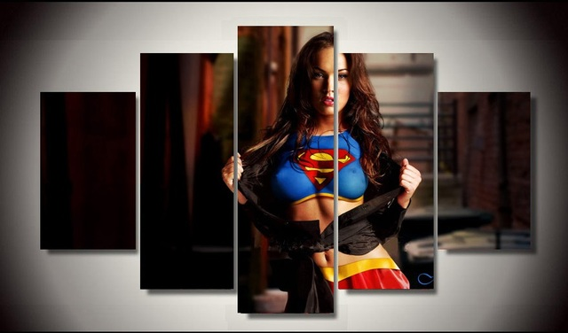 No Frames Printed 5 Pieces Megan Fox Painting Room Decoration Print