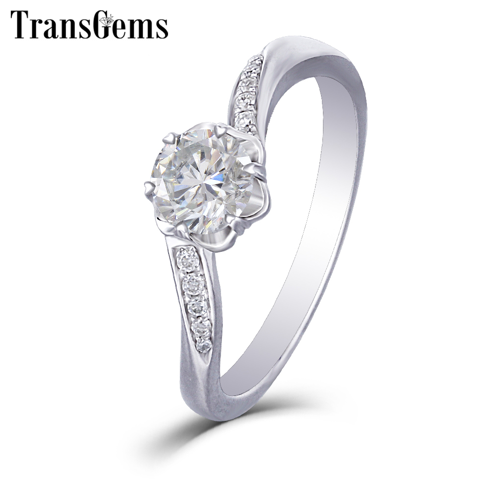 5dc0f4183d14b Transgems 14K 585 White Gold Moissanite Engagement Ring for Women Center  1ct 6.5mm F Color Moissanite Ring with Accents