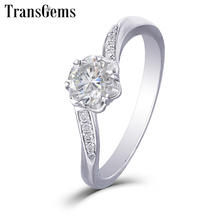 Transgems 14K 585 White Gold Moissanite Engagement Ring for Women Center 1ct 6.5mm F Color Moissanite Ring with Accents цена в Москве и Питере