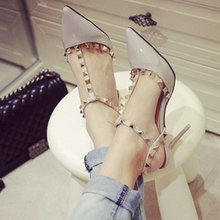 2016 New women's Rome Rivets pointed toe sandals sexy High Thin Heels female Slip-On shoes D'Orsay Party Dress solid pumps