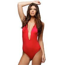 Deep V Plunging One Piece Swimsuit Sexy Bodysuit Women Red Halter Swimwear Black Backless Bathing Suit S M L