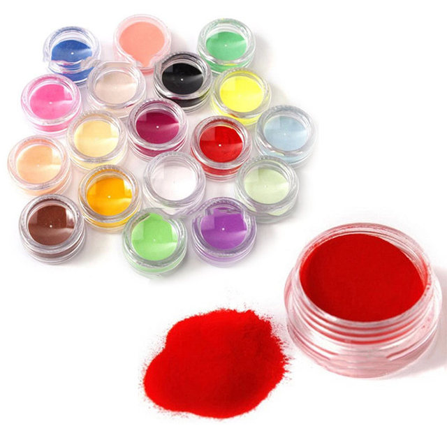Shellhard 18 Mix Colors Acrylic Powder Nail Art Tips Uv Gel Colored