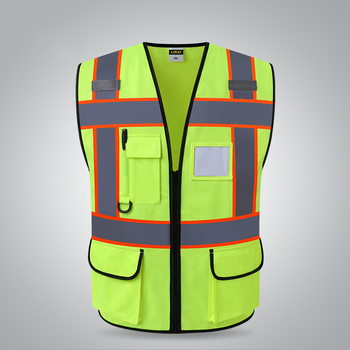 27ebbca644b Chaleco reflectante amarillo de dos tonos con bolsillos ropa de trabajo  uniforme de seguridad
