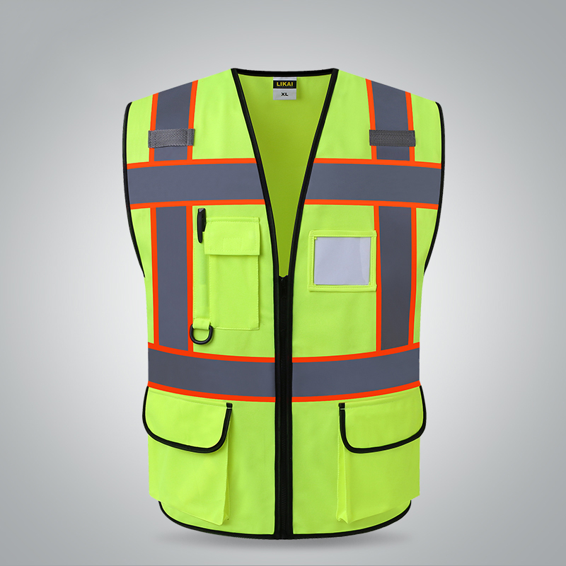 Two tone yellow reflective vest with pockets work uniform safety workwear button up two tone work shirt