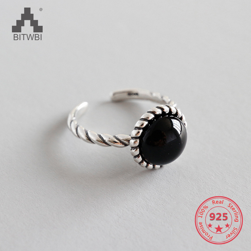 S925 Sterling Silver Ring Inlaid Natural Black Agate Opening Adjustable Female Ring