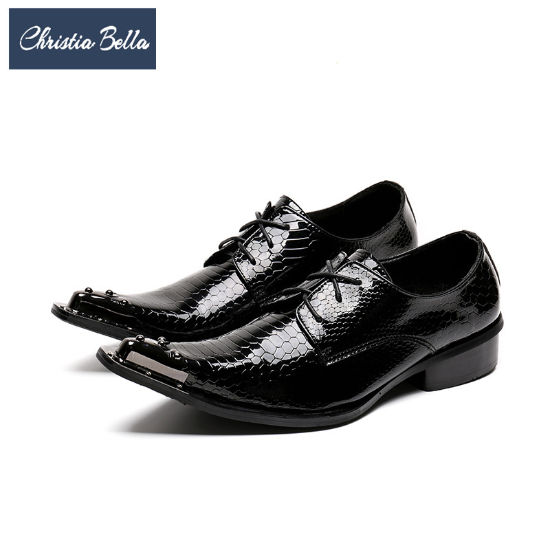 Christia Bella Fashion Men Oxford Shoes Lace Up Wedding Business Dress Shoes Genuine Leather Pointed Toe Brogue Shoes Plus Size christia bella italian fashion business men dress shoes genuine leather pointed toe wedding formal shoes plus size office shoes