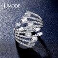 UMODE Роскошный 4X2 мм 0.15ct Emerald Cut CZ имитация Алмазный Палец Кольцо Родием Бренд для Женщин Anillos Mujer UR0320