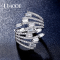 UMODE Luxurious 4X2mm 0.15ct Emerald Cut CZ simulated Diamond Finger Ring Rhodium Plated Brand for Women Anillos Mujer UR0320