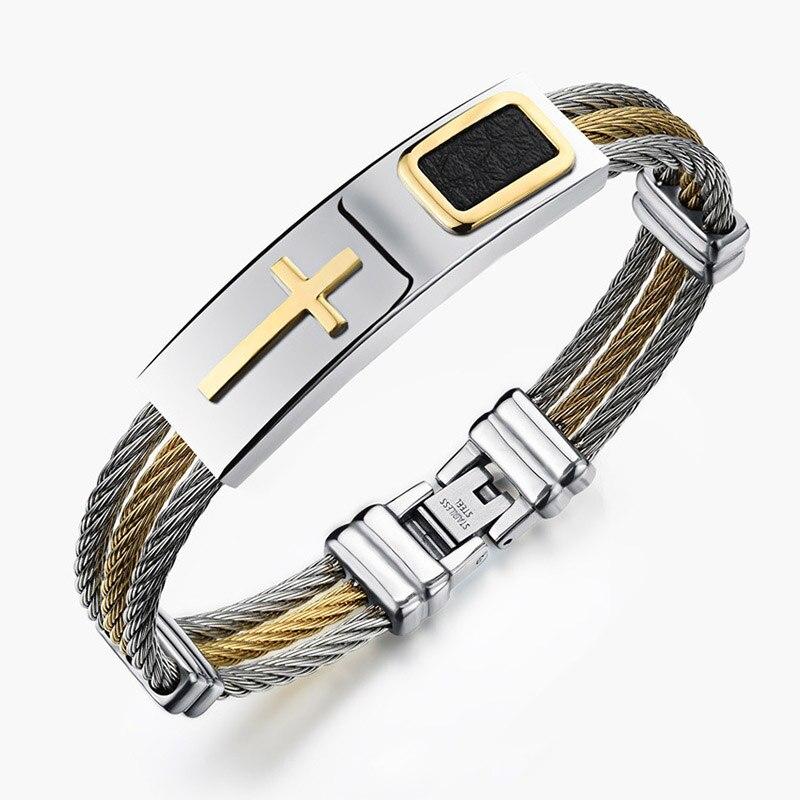 Men 3 Rows Wire Chain Bracelet Bangle Punk Stainless Steel Cross Bracelets Jewelry Gifts KQS8
