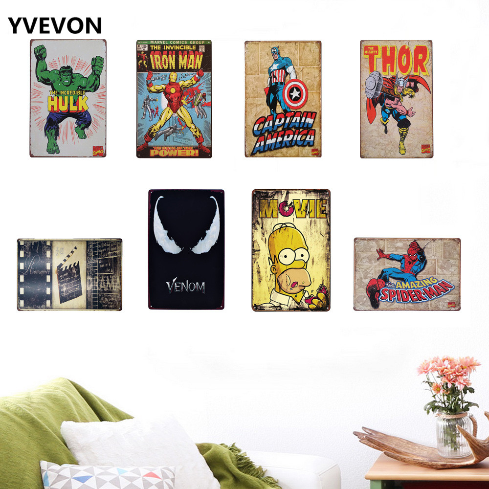 Tin Vintage Cartoon Sign HERO Movie Star Metal Decor Plaques Animation Cinema Film Poster for Restaurant Home Wall 20x30cm in Plaques Signs from Home Garden