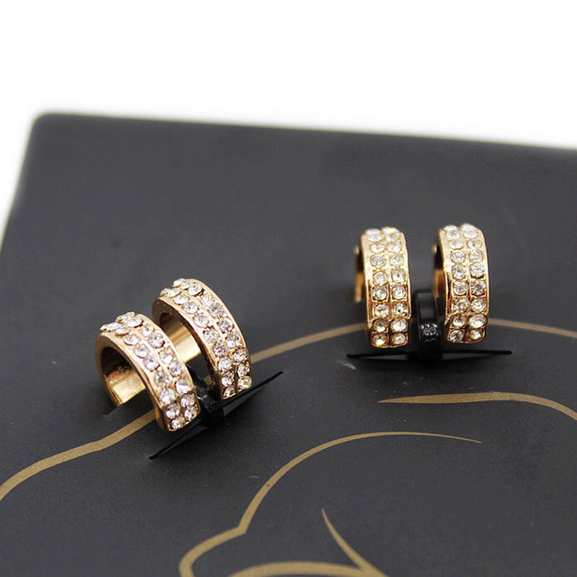 Crystal Earrings Small Round Ear Cuff Gold and Silver Plated 2 Rows Rhinestone Clip Earrings 2