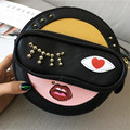 Interesting design Leisure shoulder women handbag female models rivet shoulder bag Eyes Red lips face mbossed small round bag