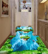 3d pvc flooring custom photo mural picture wall sticker 3d lawn falls Sea Island floor painting room wallpaper for walls 3d
