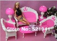 Бесплатная доставка, для девочек подарок на день рождения Пластиковые Винтаж Диван Настольная лампа 6 шт/набор аксессуаров для куклы Барби, ...