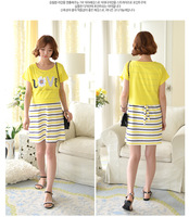 Summer Style Large Size Maternity Clothing Cotton Striped Dress For Pregnant Women Breast Feeding Two Pieces