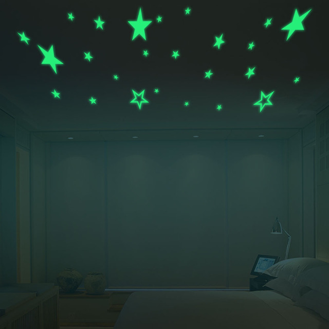 Cartoon Luminous Stars Wall Stickers Home Decor Living Room Bedroom Artistic Background Glow In The Dark