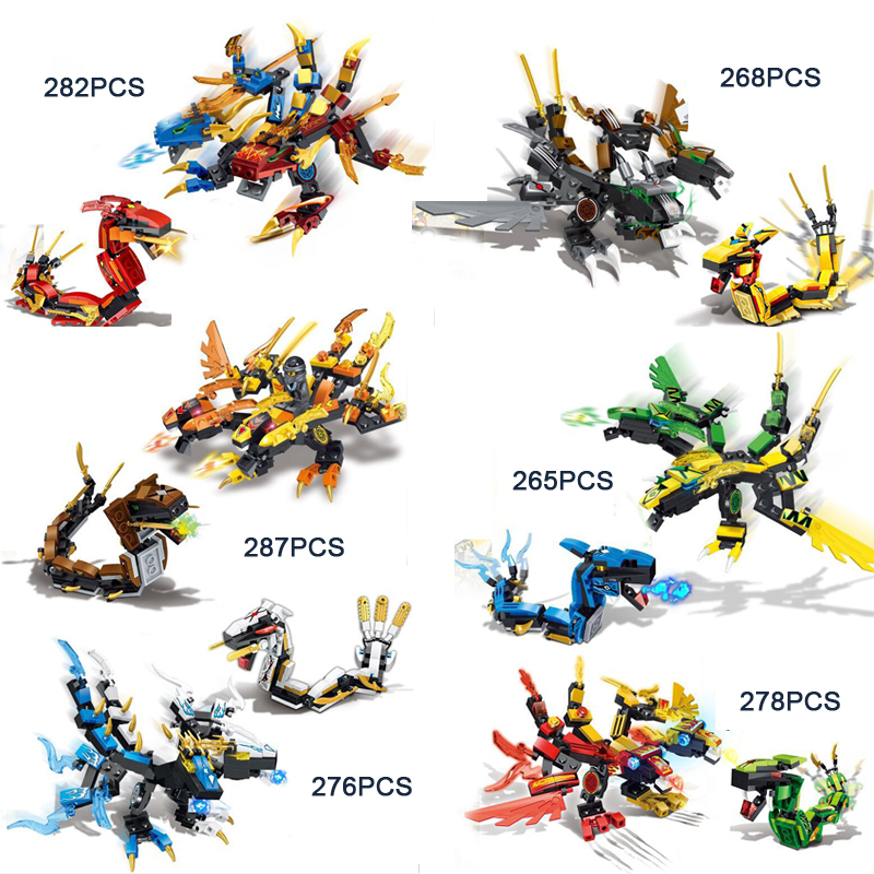 Hot movie ninja double head dragon knights vs snake go building block kai zane cole llolyd nya jay figures bricks toys for gifts