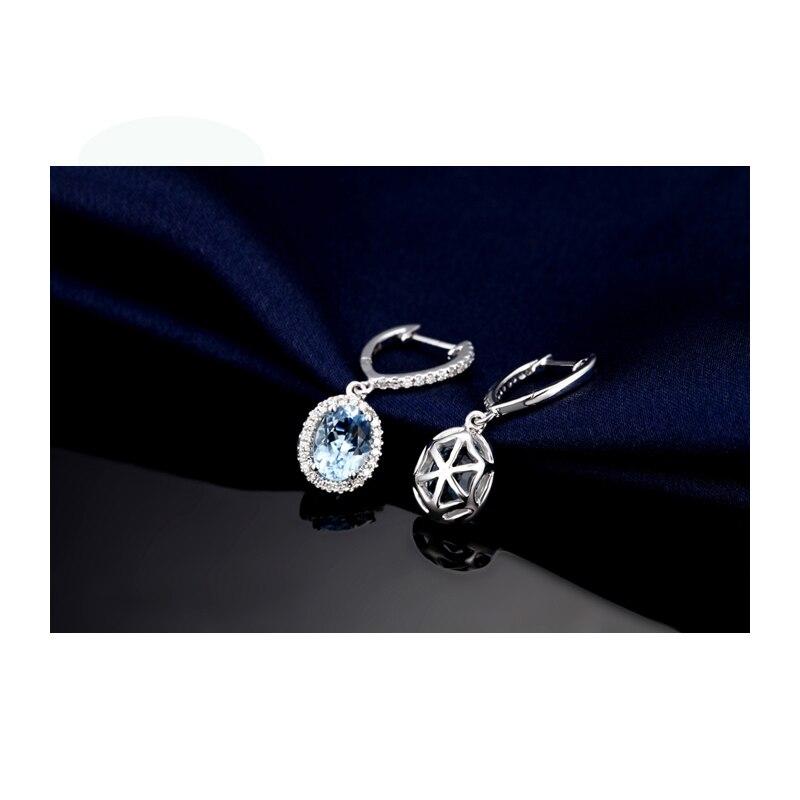 Caimao bijoux classique 14 K or blanc bleu Aquamorine & diamant boucles d'oreilles de mariage - 4