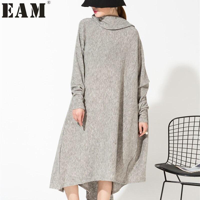 [EAM] 2018 новый осень серый асимметричный воротник Нерегулярные Хем Свободные Длинные Большой Размеры комплектации платье Для женщин моды при...