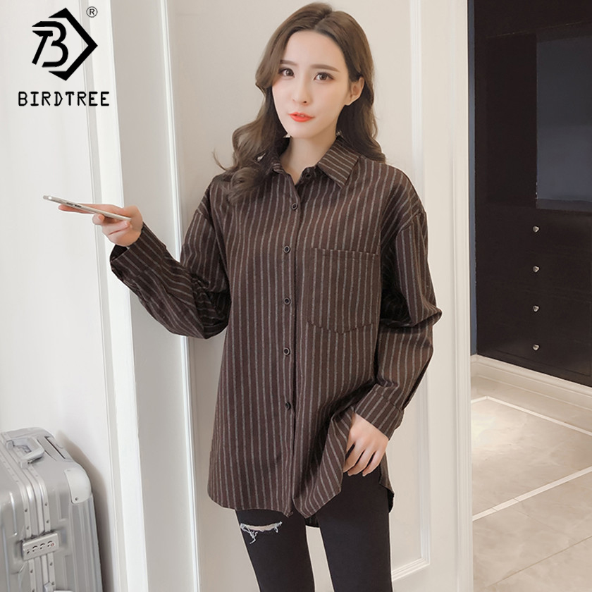 New 2018 Spring Women Striped Long Sleeve Gray Shirts Turn-Down Collar Loose Blouses Fall Casual Tops Tees Plus Size 5XL T82821A