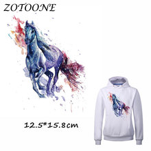 ZOTOONE Iron on Patches for Clothes Heat Transfer Cool Watercolor Horse Patch T Shirt Stickers DIY Accessory Applique Kids C