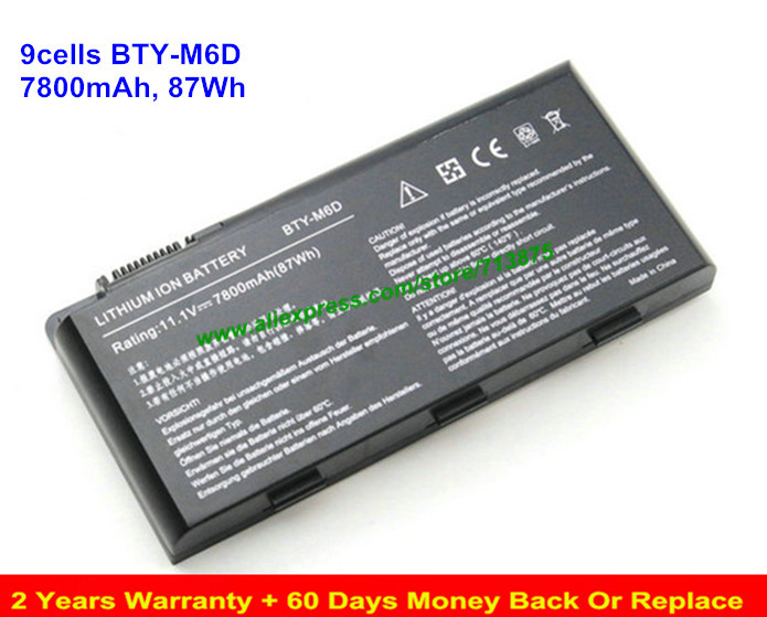 Original BTY-M6D Battery for MSI BTY-M6D GT60 GT70 GX70 MS-1763 7800mAh projector color wheel for benq pb8240 free shipping