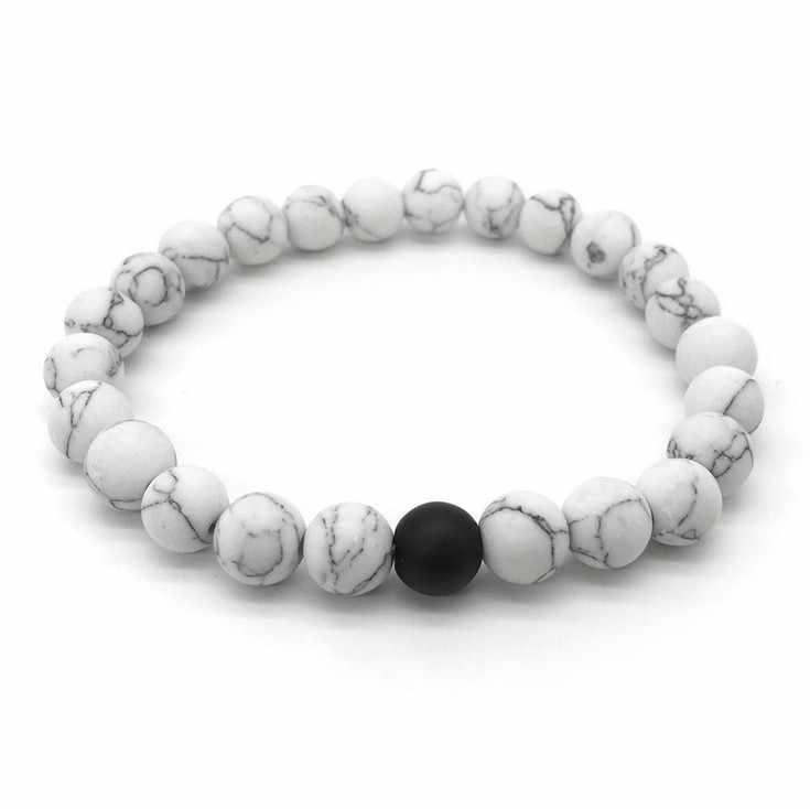 2 unids/set pulsera de distancia para parejas piedra Natural clásica blanco y negro Yin Yang pulseras de cuentas para hombres y mujeres mejor amigo caliente