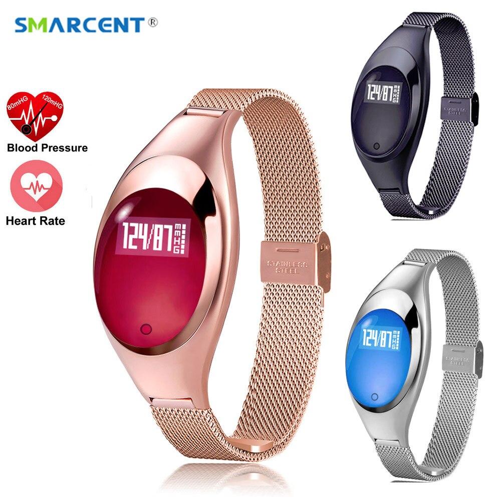 SMARCENT Frauen Mode Smart Uhr Mit Blutdruck Pulsmesser Schrittzähler Fitness Tracker Armband Für Android IOS