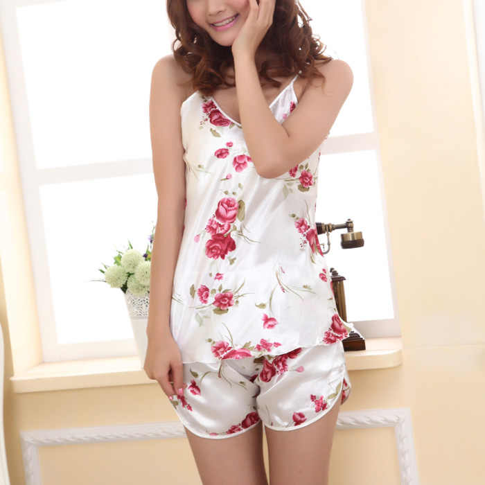 73035c907fc ... 2pcs/set Sexy Ladies Ice Silk Nightwear Pajama Rose Flower V-neck Satin  Strapped ...
