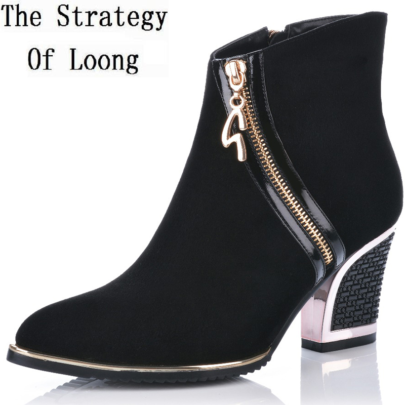 Short Plush Genuine Leather Women Boots Woman Winter Fashion Zipper Thick High Heels Boots Lady Spring Autumn Ankle Boots women patent leather lace up short plush thick warm ankle boots low heels fashion round toe no plush spring autumn boots 0221