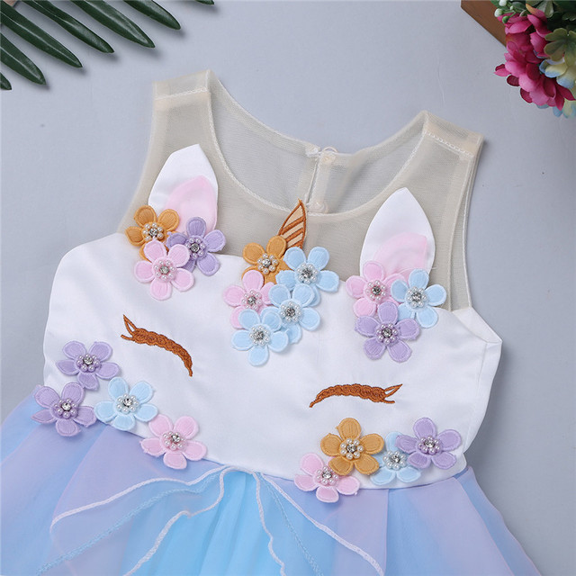 Cute Embroidery Baby Girls Unicorn Dress