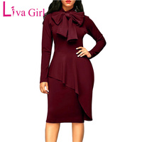 Liva Girl Women Winter Bodycon Dress Plus Size Sexy Vintage Party Dress Robe Femme Office Autumn