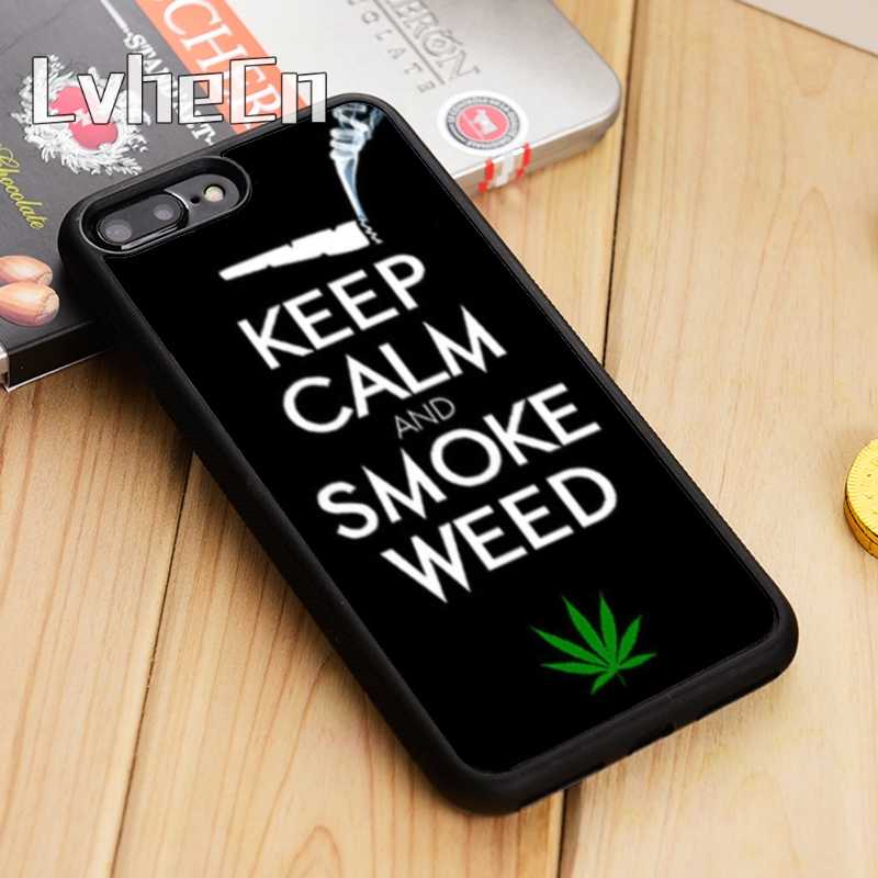 LvheCn KEEP CALM AND SMOKE WEED Phone Case Cover For iPhone 5 6s 7 8 plus q50