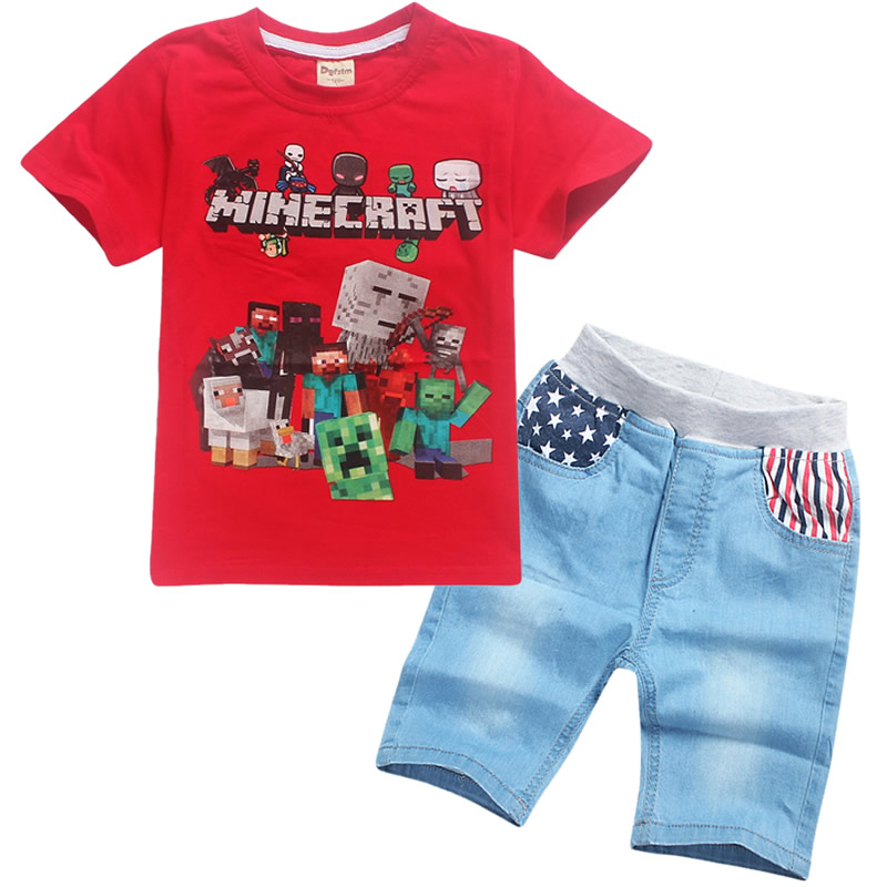 2018 childrens new summer short-sleeved T-shirt shorts jeans boy Minecraft/Our world fashion design sports suit two-piece